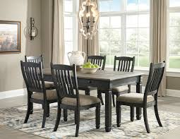 The Tyler Creek Black Gray 7 Pc Rectangular Dining Room Table 6 Uph Side Chairs Available At Payless Furniture And Mattress Serving Columbus Ohio And Surrounding Areas