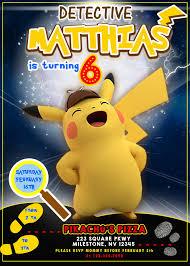 Detective Pikachu Birthday Invitation Fiesta De Cumpleanos