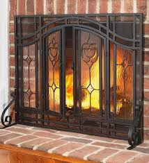 fireplace screen with beveled glass