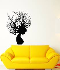 Vinyl Wall Decal Gothic Style Girl Hairstyle Tree Branches Stickers 3 Wallstickers4you