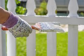 Woman Holding Paint Brush Next To White Picket Fence Stock Photo 2fba46c7 3e44 40da 9571 F14515d91d50
