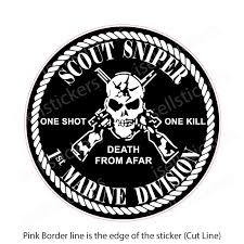 1st Marine Corps Division Scout Sniper Usmc Sticker Window Decal