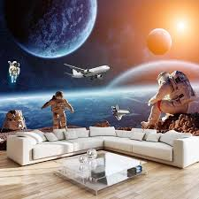 Custom Photo Poster Wall Painting Starry Sky Universe Astronaut Planet Mural Wallpaper For Kids Room Living Room Bedroom Decor Wallpapers Aliexpress