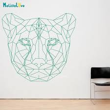 Geometric Cheetah Head Leopard Animal Theme Sticker Vinyl Wall Sticker Decal Art Jh001 Wall Stickers Aliexpress