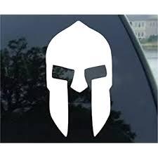 Amazon Com Socooldesign Spartan Helmet Car Window Vinyl Decal Sticker 4 Tall White Automotive