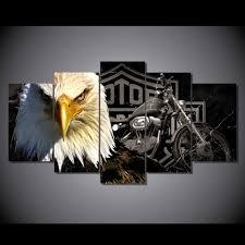 Harley Davidson And Bald Eagle Wall Art Set Eagle Wall Art Canvas Decor Framed Canvas Prints