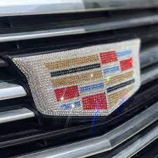 Bling Cadillac Logo Decal Rhinestone Bedazzled For Front Or Rear Or Si Carsoda