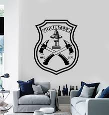 Vinyl Wall Decal Fire Dept Volunteer Firefighting Axes Rescue Team Sti Wallstickers4you