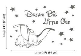 Dumbo Wall Stickers Disney Dream Big Little One Nursery Baby Vinyl Decals Stars 17 08 Picclick