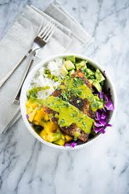 Caribbean Blackened Salmon Bowls with ...