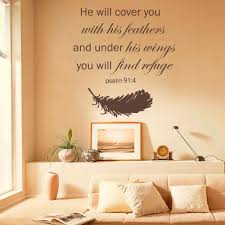 Amazon Com Battoo Psalm 91 4 Bible Verse He Will Cover You With Feathers And Under His Wings You Will Find Refuge Family Vinyl Religious Wall Decal Dark Brown 46 H X43 W