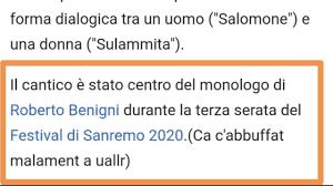 Sanremo 2020, scherzo su Wikipedia: il 'Cantico dei Cantici ...