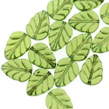 green gl leaf beads with gold inlay