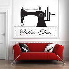 Sewing Machine Wall Sticker Tailor Shop Wall Decor Vinyl Decal Clothing Store Decoration Needlework Mural Mends Wall Stickers Aliexpress