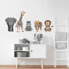 Safari Animal Wall Decals Nursery Wall Decals Lion Tiger Elephant Ju