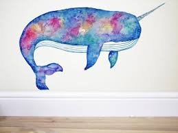 Rainbow Narwhal Narwhal Decal Narwhal Sticker Whale Wall Etsy