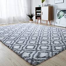 Amazon Com Junovo Soft Area Rugs Fluffy Modern Geometric Rugs For Bedroom Living Room Shaggy Floor Carpets Large Indoor Mat For Girls Boys Kids Room Nursery Home Decor 5ft X 8ft White Home