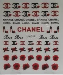 Black Red Cc Chanel Luxury Designer Logo Nail Art Stickers Decals