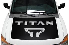 Nissan Titan 2004 2013 Custom Decal Hood Wrap Kit Titan Logo Factory Crafts