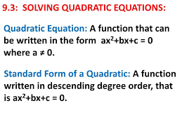 ppt 9 3 solving quadratic equations