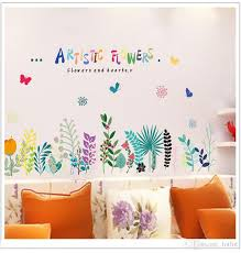 Baseboard Colorful Artistic Flowers Wall Stickers Removable Living Room Bedroom Background Home Decoration Mural Decal Sticker Wall Decal Quotes Wall Decal Sale From Lotlot 2 9 Dhgate Com