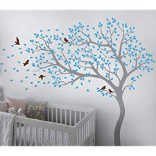Amazon Com Tree Wall Decal Large Tree Wall Sticker Forest Mural Tree Blowing In The Wind Tree Wall Decals Wall Sticker Nursery Decals 098 Grey Ice Blue Brown Arts Crafts Sewing