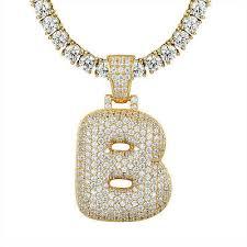 custom bubble letter b initial pendant