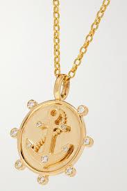 anchor 14 karat gold diamond necklace