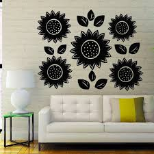 Shop Sun Flowers Blossom Stickers Vinyl Decal Sticker Art Spa Wall Decor Nursery Room Decor Sticker Decal Size 48x57 Color Black On Sale Overstock 14758022