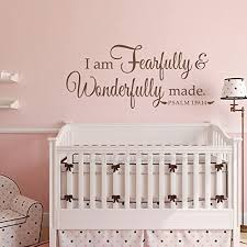 Amazon Com Battoo I Am Fearfully And Wonderfully Made Psalm 139 14 Nursery Or Child S Room Vinyl Wall Decal 40 W Bible Verse Wall Sticker Dark Brown Furniture Decor