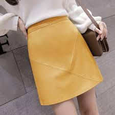 woman pu leather skirts autumn winter