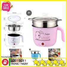 Nồi Lẩu Điện Mini Cooking Pot - Bếp Điện Đa Năng Nấu Cơm Đa Năng Kèm Giá  Hấp INOX Cao Cấp (Màu Trắng)