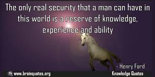 the only real security that a man can have in this world quote