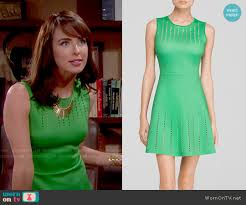 wornontv ivy s green perforated dress