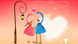 full hd wallpaper couple cartoon heart
