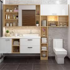 white and wood grain bathroom mirrored