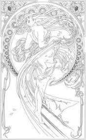 Kleurplaat Naar Alfons Mucha Colouring Picture A Mucha Like The
