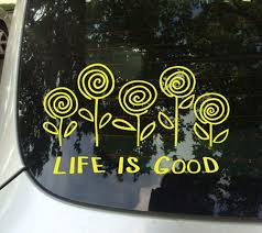 Fun Stickers Flowers Life Is Good Car Decals Etsy