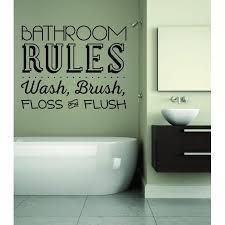 Custom Wall Decal Bathroom Rules Wash Brush Floss And Flush Sign Quote 12x12 Walmart Com Walmart Com