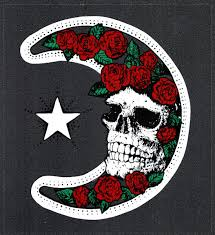 Grateful Dead Car Window Tour Sticker Decal Moon And Roses And Skull