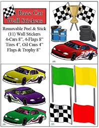 Create A Mural Race Car Wall Stickers Boys Room Wall Decals Peel Stick Childrens Wall D Cor Amazon Com