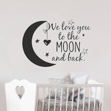 We Love You To The Moon And Back Wall Decal Nursery Quotes Moon And Stars Wall Sticker Children Room Decor Kids Rooms Lw101 Wall Stickers Aliexpress