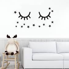 Cute Sleepy Eyes Wall Decal Kids Baby Room Decor Eyelash Vinyl Stickers Sleepy Eye With Stars Wall Murals Nursery Art Az869 Wall Stickers Aliexpress