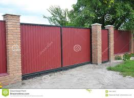 Installing Brick And Metal Fence Gate With Door Red Metal Fencing Panels Stock Photo Image Of Install Installing 104773972