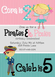 Pirates And Pixies Fairies Birthday Invitation Dual Twin Double