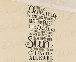Here Comes The Sun Beatles Wall Decal Sticker Vinyl Inspiring Art Decoration Q64 Ebay