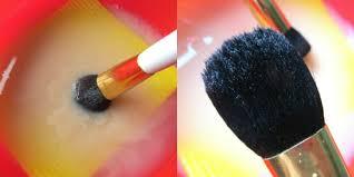 while washing makeup brushes