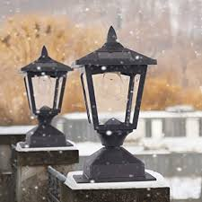 Amazon Com Solar Post Lights Outdoor Post Lantern With Mount Base Waterproof Post Cap Light For Fence Deck Garden Landscape 4 4 Or 6 6 Posts Pack Of 2 Home Improvement