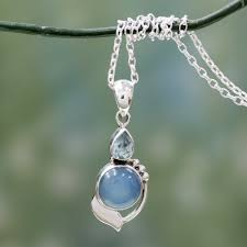 sterling silver necklace with blue