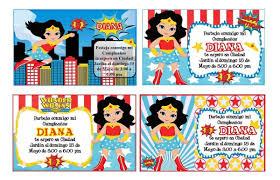 Kit Imprimible Mujer Maravilla Tarjeta Invitacion Cumpleanos